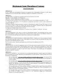Règlement Semi Marathon d'Antony - Ville d'Antony