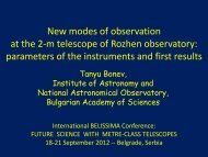 New modes of observation at the 2-m telescope of ... - Belissima