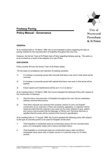 Footway Paving Policy Manual - Governance - City of Norwood ...