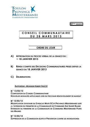 Télécharger l'ordre du jour - Communauté d'Agglomération Toulon ...