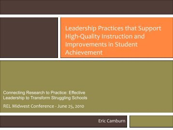 Leadership Practices that Support High‐Quality Instruction and ...