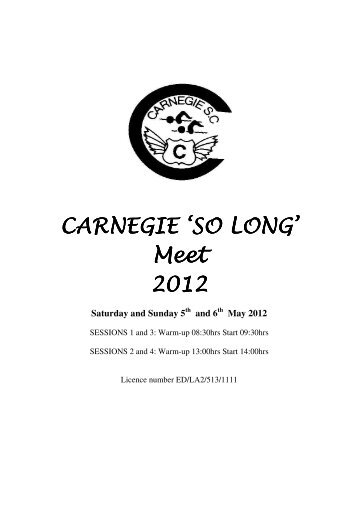 "Carnegie ""So Long"" - Swim Scotland"