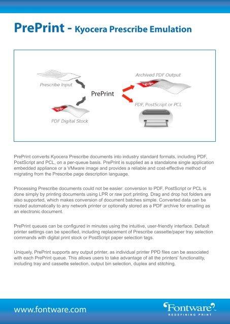 PrePrint - Kyocera Prescribe Emulation - Fontware