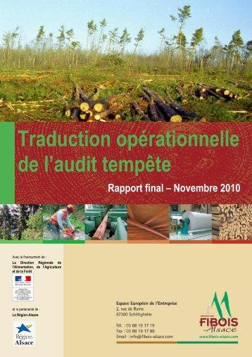 Traduction opérationnelle de l'audit Tempête - FIBOIS Alsace
