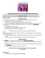 2013 Glenelg Country School Camp Medication Procedures