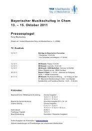 Bayerischer Musikschultag in Cham 13. - Verband Bayerischer Sing