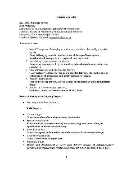 Curriculum Vitae Dr Sarasija Suresh Assistant Professor National