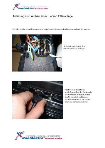 Anleitung zum Aufbau einer Lacron Filteranlage - Pool Doktor