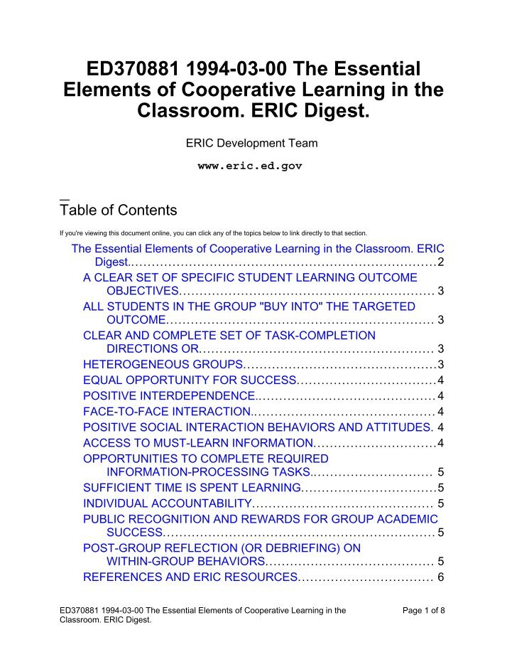 elements of cooperative learning Cooperative learning in the large ensemble september 5, 2017 anand sukumaran the large performing ensemble is the dominant manifestation of music education in the.