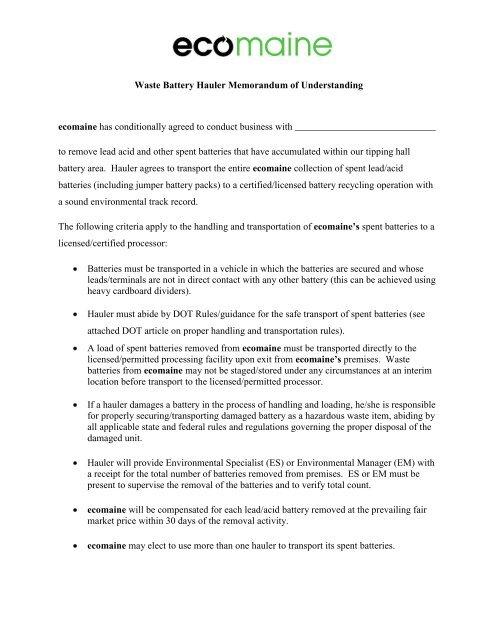 Battery Scrap Hauler Agreement - ecomaine