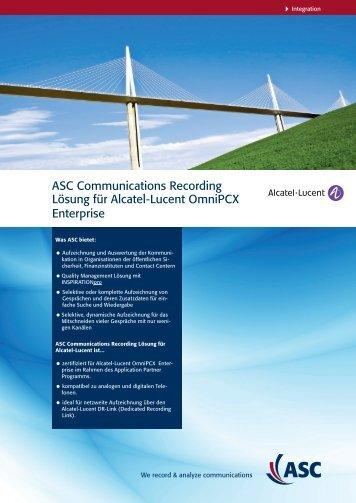 ASC Communications Recording Lösung für Alcatel ... - ASC telecom