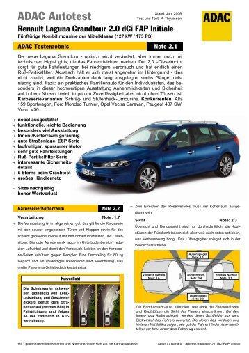 Umfassender Test Renault Laguna Grandtour 2.0 dCi FAP ... - ADAC