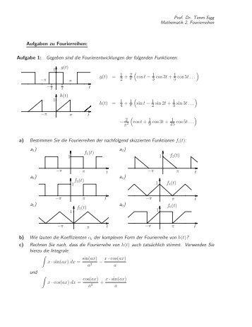 Aufgaben zu Fourierreihen: Aufgabe 1: Gegeben sind die ...