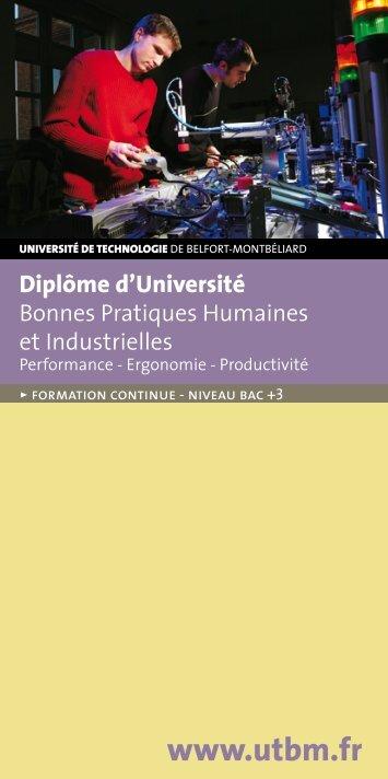 DU Bonnes Pratiques Humaines Industrielles - Utbm