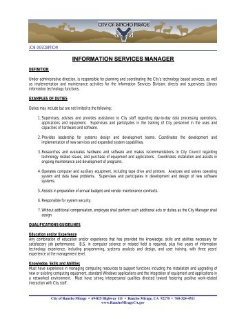 INFORMATION SERVICES MANAGER - City of Rancho Mirage