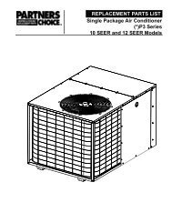 REPLACEMENT PARTS LIST Single Package Air Conditioner (*)P3 ...