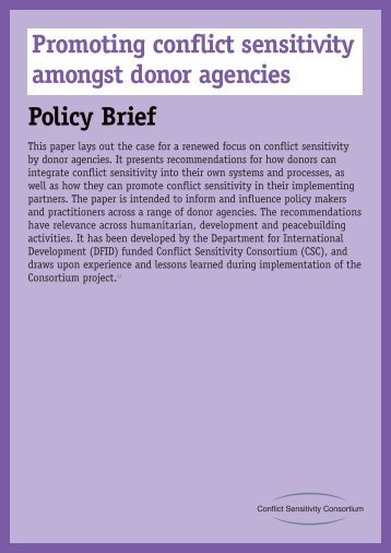 Promoting conflict sensitivity amongst donor agencies Policy Brief