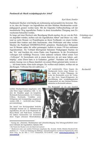 1 1 Punkmusik als Musik  sozialpädagogischer Arbeit Karl Heinz ...