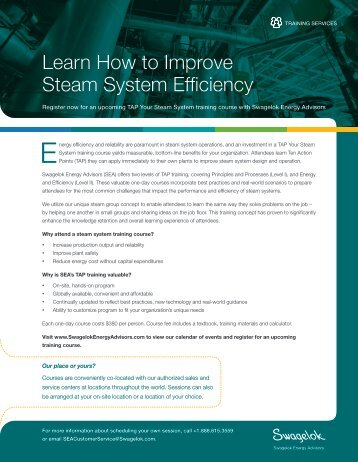 to download the TAP Training Flyer - Swagelok - Energy Advisors