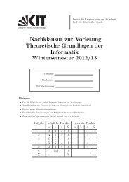Nachklausur zur Vorlesung Theoretische Grundlagen der ... - IKS