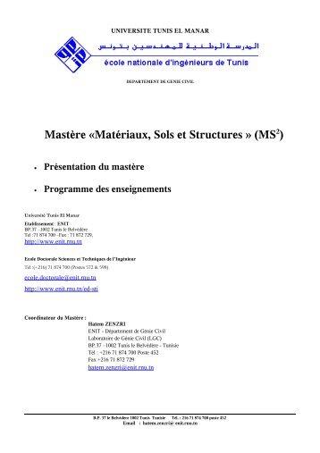 Mastère «Matériaux, Sols et Structures - Ecole Doctorale Sciences ...
