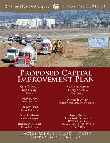 Proposed Capital Improvement Plan - City of Moreno Valley