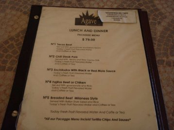 View Agave Restaurant menu (PDF file)