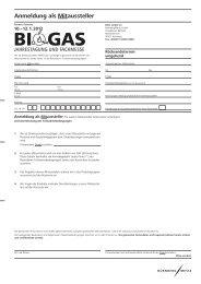 Anmeldung als Mitaussteller - BIOGAS Jahrestagung und Fachmesse