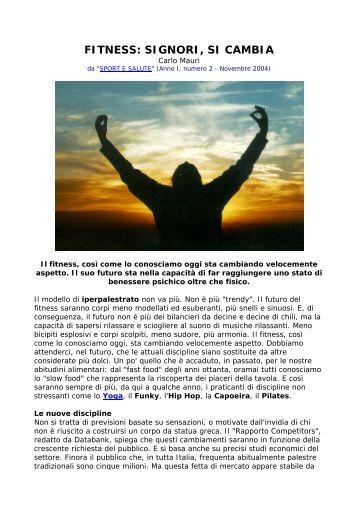 FITNESS: SIGNORI, SI CAMBIA - Sport Medicina