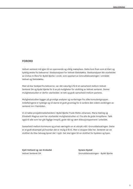 Mulighetsstudiet av Veitvet-senteret - Plan