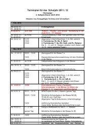 Terminplan für das Schuljahr 2011 / 12