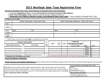 Westleigh Recreation Club 2012 Membership Renewal Form Enclosed