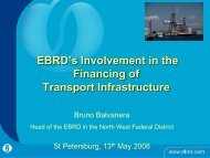 EBRD's Involvement in the Financing of Transport Infrastructure