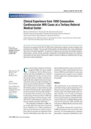 Clinical Experience from 1000 Consecutive Cardiovascular MRI ...