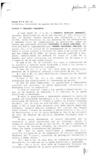 1.—Que desde fs. 1 a fs. 6 CLAUDIO TRONCOSO ... - Sernac