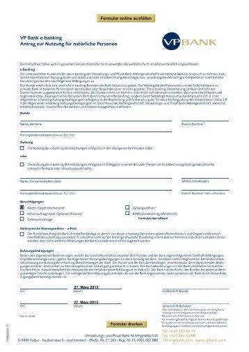 e-banking Nutzungsantrag für natürliche Personen - VP Bank