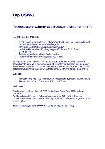 Typ USW-2 Trinkwassererwärmer aus Edelstahl, Material 1.4571