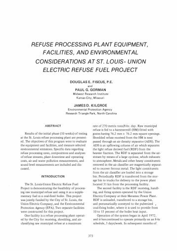 Refuse Processing Plant Equipment, Facilities, and Environmental ...