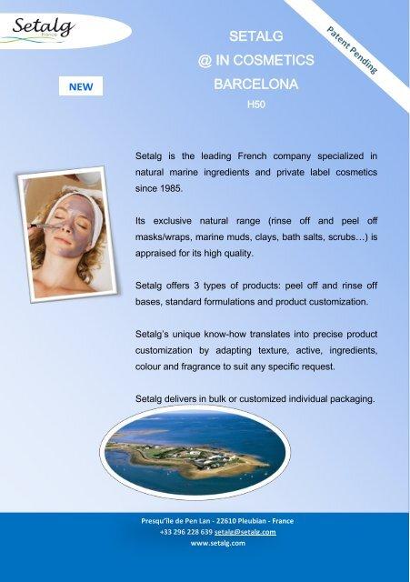 Press release In Cosmetics Barcelona - Setalg