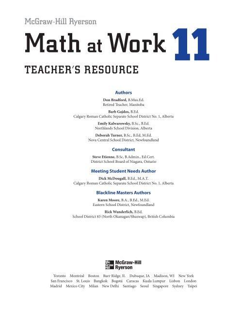 Math at Work 11 TR Front Matter (PDF) - McGraw-Hill Ryerson