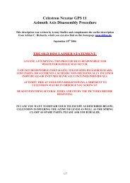 Celestron Nexstar GPS 11 Azimuth Axis Disassembly ... - DD1US