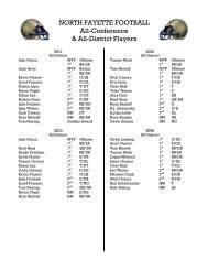 NORTH FAYETTE FOOTBALL All-Conference & All-District Players