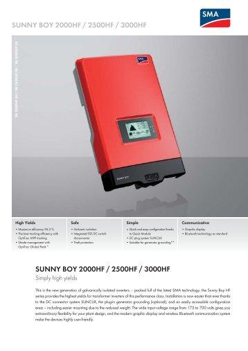 Sunny Boy 2000HF / 2500HF / 3000HF