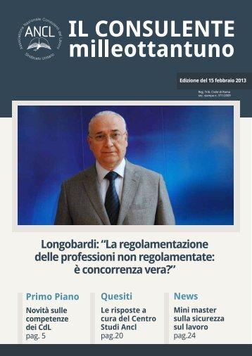 """Longobardi: """"La regolamentazione delle professioni non ... - Ancl"""