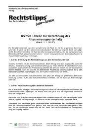 Bremer Tabelle zur Berechnung des Altersvorsorgeunterhalts