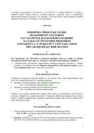 Podmínky přijetí - Fakulta životního prostředí - UJEP