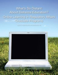 Online Learning in Regulatory Affairs Graduate Programs