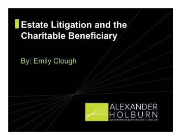 Estate Litigation and the Charitable Beneficiary