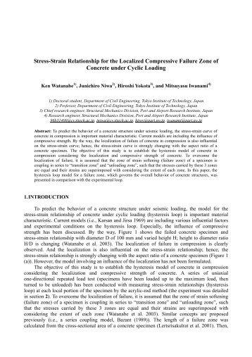 Stress-Strain Relationship for the Localized Compressive Failure ...