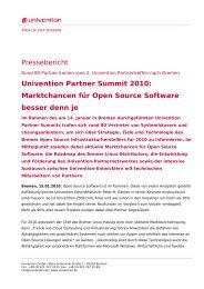 Pressebericht Univention Partner Summit 2010: Marktchancen für ...